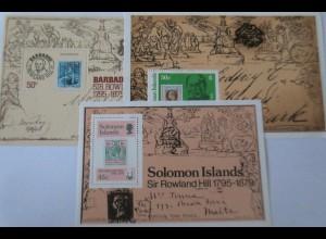 Barbados, Cayman, Solomon, 3 postfrische Blocks