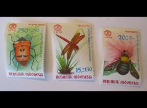Indonesien, Nr. 682-684, Insekten, postfrisch von 1970 (36386)