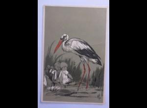 """""""Vogel, Klapperstorch, Kinder, Seerosen"""" 1900, Prägekarte ♥"""