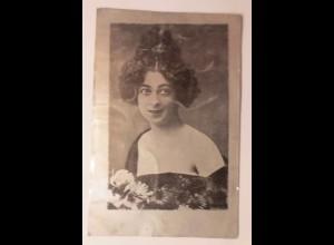 Metallkarte, Frauen, Mode, Erotik, Blumen, 1900 ♥ (69641)