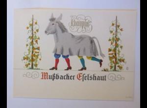 Weinetikett, Rheinpfalz Mußbacher Eselhaut, Klein-Auheim, 1960 ♥