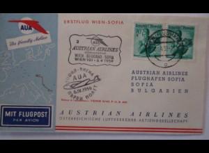 Österreich AUA Erstflug Wien-Sofia 1959
