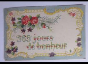 Neujahr, Blumen, Jugendstil, 1907, Prägekarte ♥ (56418)