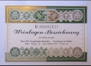 Weinetikett, Weinlagen-Bezeichnung, Steinheim am Main, 1960 er ♥