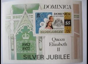 Dominica, Silver Jubilee Queen Elisabeth II., postfrischer Block