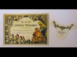 Weinetikett, Ritteler Blümchen, Klein Auheim, Mosel-Saar-Ruwer 1964 ♥ (4338)