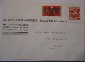 Schweiz, Soldatenmarke Sap. Bat. 6 auf Brief 1945 (44582)