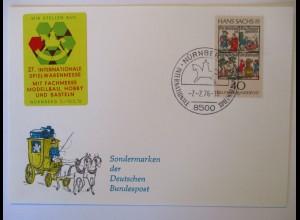 Nürnberg, Spielwaren Messe 1976, Sonderkarte mit Vignette