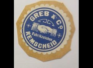 Vignetten, Verschlußmarken, Greb & Co Fabrikzeichen Remscheid ♥ (44756)