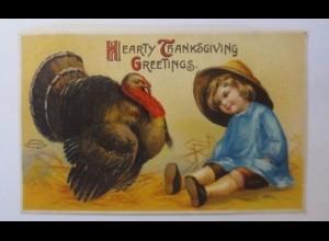 Thanksgiving Day, Truthahn, Kinder, 1910, Prägekarte ♥ (43757)