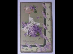 Neujahr, Veilchen, Sekt, Kleeblatt, 1911, Prägekarte ♥ (56419)