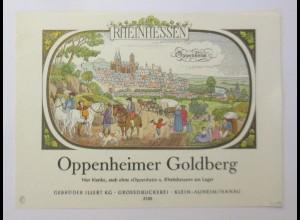 Weinetikett, Rheinhessen, Oppenheimer Goldberg, Klein-Auheim 1960 ♥