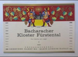 Weinetikett, Bacharacher Kloster Fürstental, Klein Auheim, 1960 er ♥