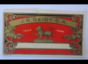 Werbung, Reklame Werbeetikette Medizin J.R. Geigy S.A. Trade Mark ♥