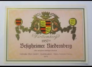 Weinetikett, Besigheimer Niedernberg, Klein Auheim 1957 er ♥ (52382)