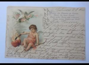 Engel, Amor, Tauben, Herz, Feuer, 1900 ♥ (7123)