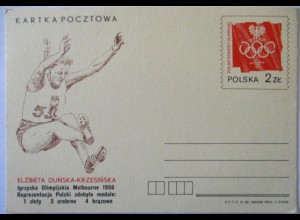 Polen Ganzsache Olympia Weitsprung