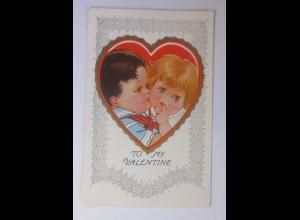 Valentinstag, Kinder, Mode, Herz, 1909, Prägekarte ♥ (55611)