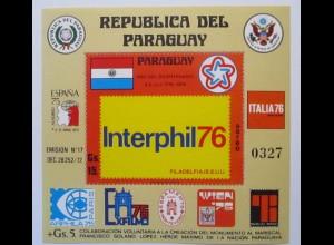 Paraguay, Block 275 Interphil 1976 postfrisch (57441)