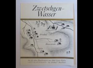 Schnapsetikett, Zwetschgen-Wasser, Gut Blauenrain bei Arisdorf 1966 er♥