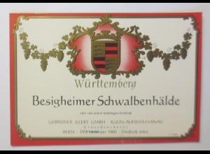 Weinetikett, Besigheimer Schwalbenhälde, Klein Auheim ♥