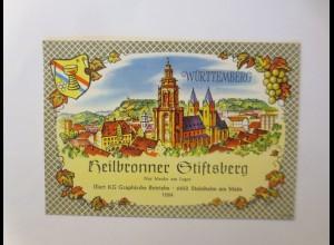 Weinetikett, Heilbronner Stiftsberg, Steinheim am Main 1960 ♥