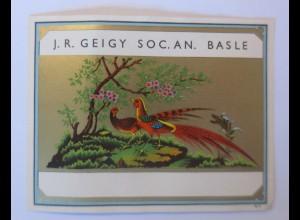 Werbung, Reklame Werbeetikette Medizin J.R. Geigy SOC. AN. Basle ♥