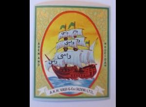 Werbung, Reklame Werbeetikette Medizin, A.K.H. Vasi & Co (Aden) LTD. ♥