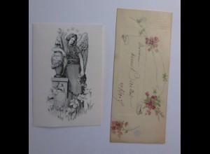 2.Glückwunschkärtchen, Trauerkärtchen, Engel, Blumen, 1900 ♥ (64352)