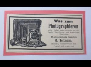 Werbung, Reklame, Kamera, 1916, G. Seltmann Dresden♥