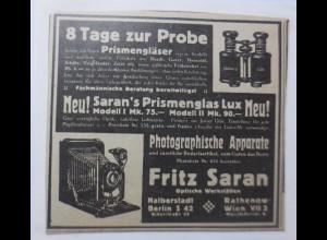 Werbung, Reklame, Kamera, 1914, Fritz Saran, Prismenglas Lux ♥