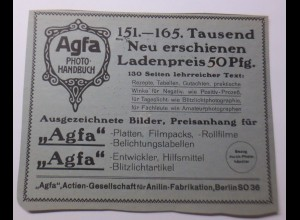 Werbung, Reklame, Kamera, 1914, Agfa Photo Platten, Papiere, Chemikalien♥