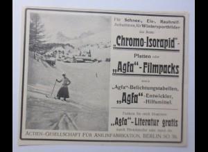 Werbung, Reklame, Kamera, 1914, Chromo-Isorapid Agfa-Filmpacks Berlin ♥