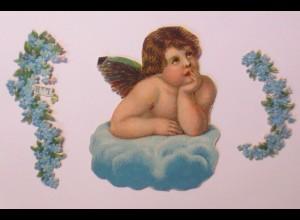 3.Oblaten, Vergissmeinnicht, Engel 8 cm x 6 cm ♥ (65949)