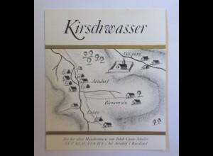 Schnapsetikett, Kirschwasser, Gut Blauenrain bei Arisdorf 1966 ♥