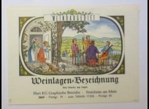 Weinetikett, Weinlagen-Bezeichnung, Steinheim am Main, 1960 ♥