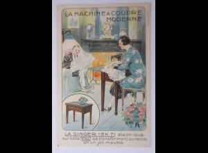 Werbung, Reklame, Nähmaschine Singer 15K 7I, 1910 ♥