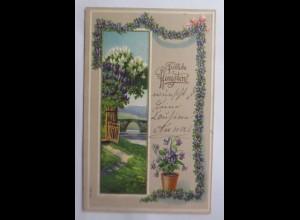 Pfingsten, Landschaft, Blumen, Girlanden, 1909, Prägekarte ♥ (69801)