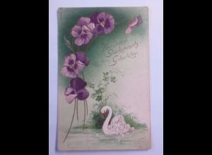 """Vogel, Schwan, See, Blumen"" 1907, Prägekarte ♥"