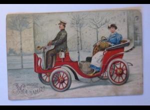 Neujahr, Auto, Oldtimer, Frauen, Gepäck, 1907, Prägekarte ♥ (44152)