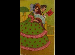 Frauen, Männer, Fächer, Zylinder, Biedermeier, 1904, Prägekarte ♥ (7623)
