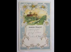 Pfingsten, Jugendstil, Landschaft, Blumen, 1910, Prägekarte ♥ (69805)