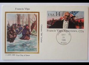 USA, Francis Vigo, Ganzsache mit Silk Cachet 1986 (9904)