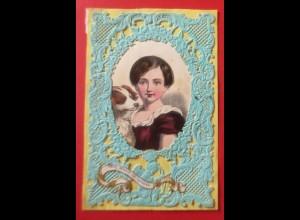 Englischer Zierbrief Prägedruck u. Stanz-Spitzendrucktechnik Farblitho 1900♥(2E)