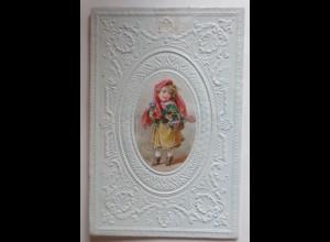 Zierbriefhülle in Prägedruck mit ovaler Chromolitho-Oblate 1860-1870 ♥ (10E)