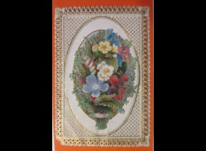 Glückwunschkärtchen in Goldprägedruck Stanz Nadelstich u. Oblate 1900 ♥ (43512)