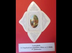 Zierbriefhülle in Prägedruck mit aufgeklebter Oblate 1850-1900 ♥ (32481)
