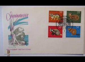 Tiere Wildkatze Fischotter Biber, FDC Deutschland 1968 (4396)