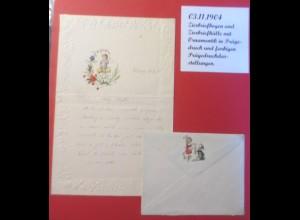 Zierbriefhülle mit Zierbriefbogen mit Ornamentik in Prägedruck 1904 ♥ (39540)