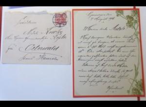 Zierbriefhülle mit Zierbriefbogen mit Jugendstildekoration 1906 ♥ (47753)